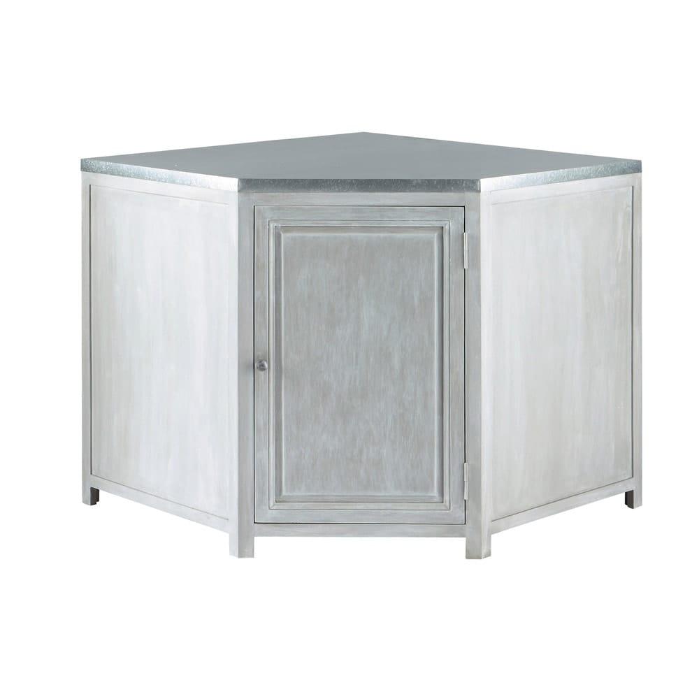 Grey acacia wood kitchen base corner cabinet w99 zinc