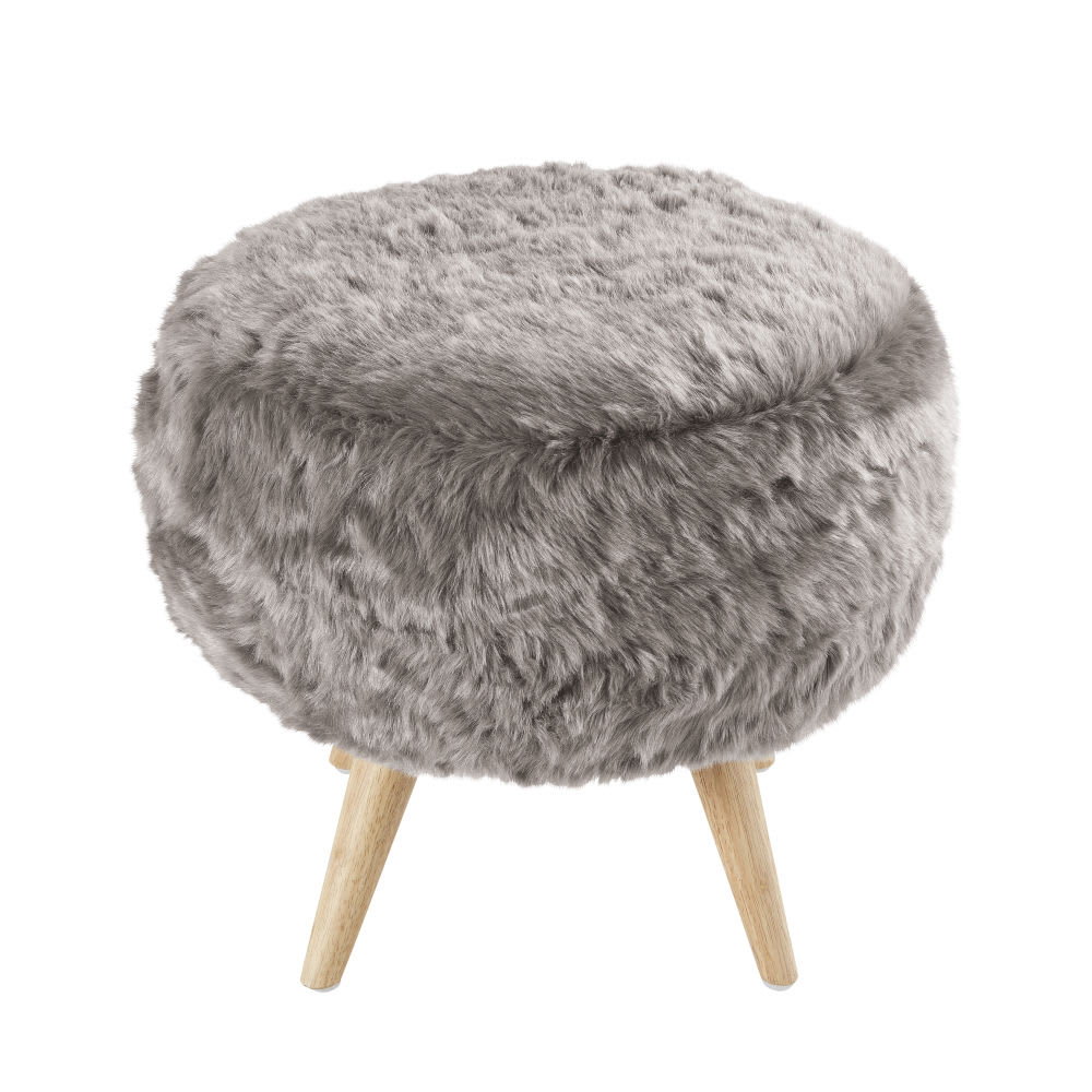 Grey Faux Fur Stool With Rubber Wood Legs Toundra