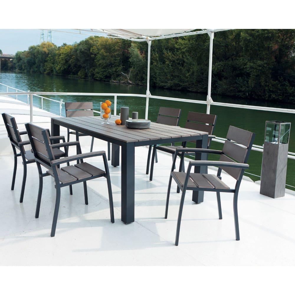 Grey garden table in aluminium W 180cm Escale | Maisons du Monde