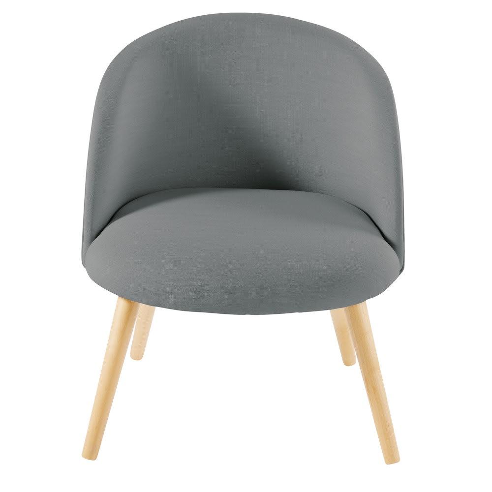 grijze vintage fauteuil en massief berkenhout mauricette. Black Bedroom Furniture Sets. Home Design Ideas