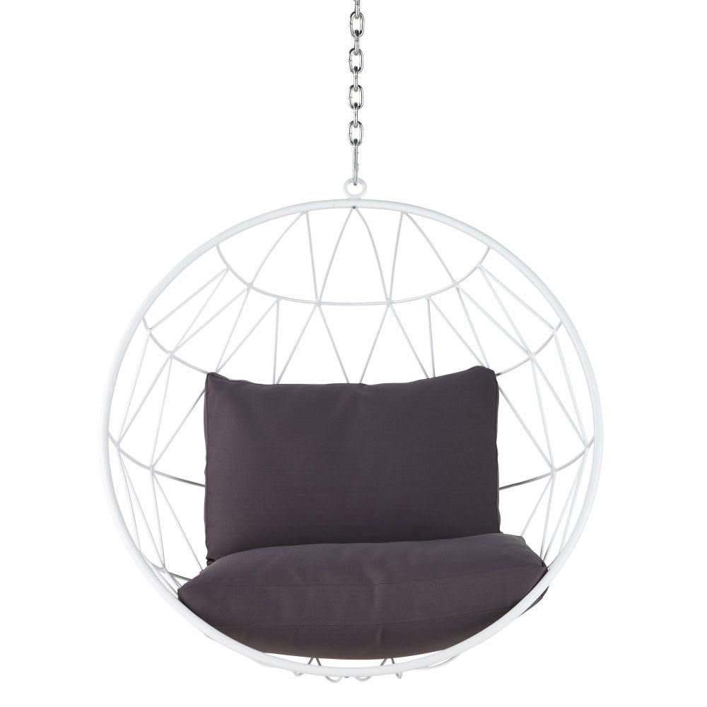 Hangstoel Met Parasol.Hangstoel Van Wit Metaal Met Grijze Kussens Palaos Maisons Du Monde