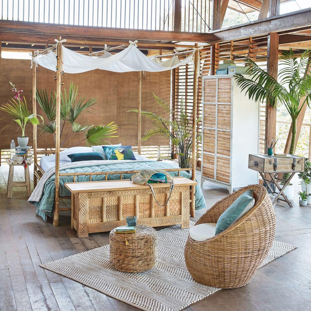 himmelbett aus bambus und wei em stoff 160 x 200 coconut maisons du monde. Black Bedroom Furniture Sets. Home Design Ideas
