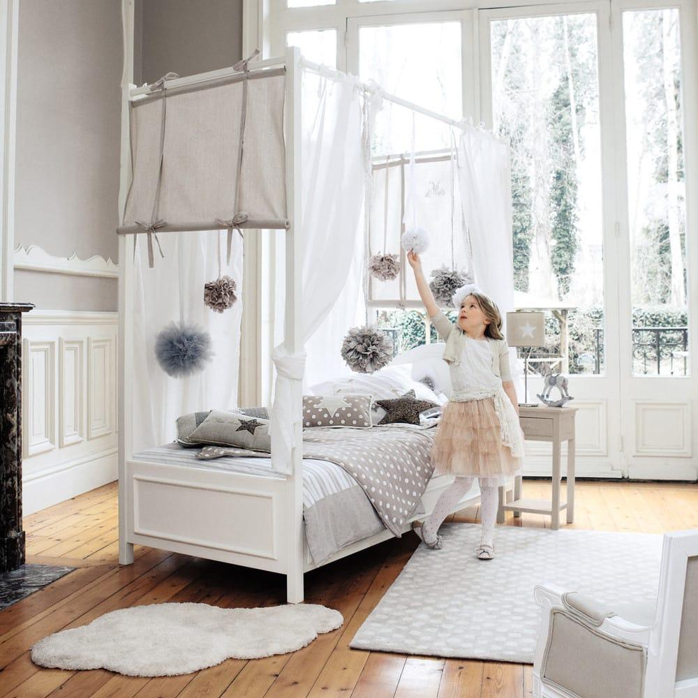Himmelbett Aus Holz 90 X 190 Cm Weiss Manosque Maisons Du Monde