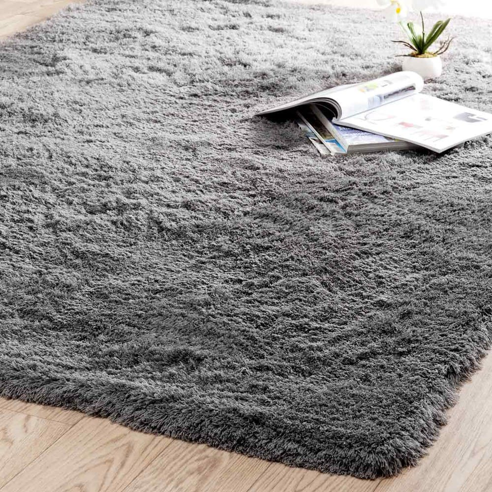 Hochflor Teppich Aus Stoff 140 X 200 Cm Grau Inuit Maisons Du Monde