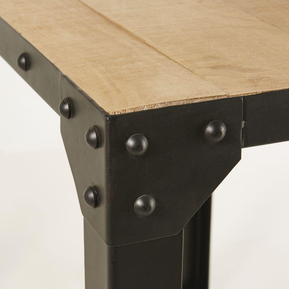 hoher esstisch aus metall und massivem mangoholz f r 4 6. Black Bedroom Furniture Sets. Home Design Ideas