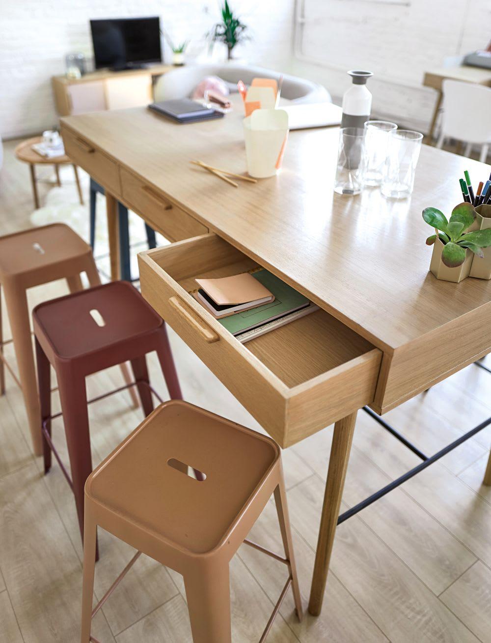 hoher esstisch mit 6 schubladen f r 4 6 personen l160. Black Bedroom Furniture Sets. Home Design Ideas