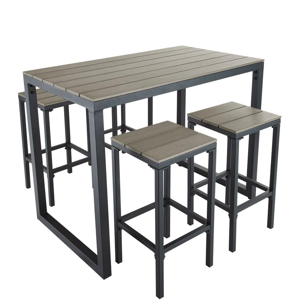 Hoher Gartentisch Mit 4 Hockern Aus Aluminium L128 Escale Maisons