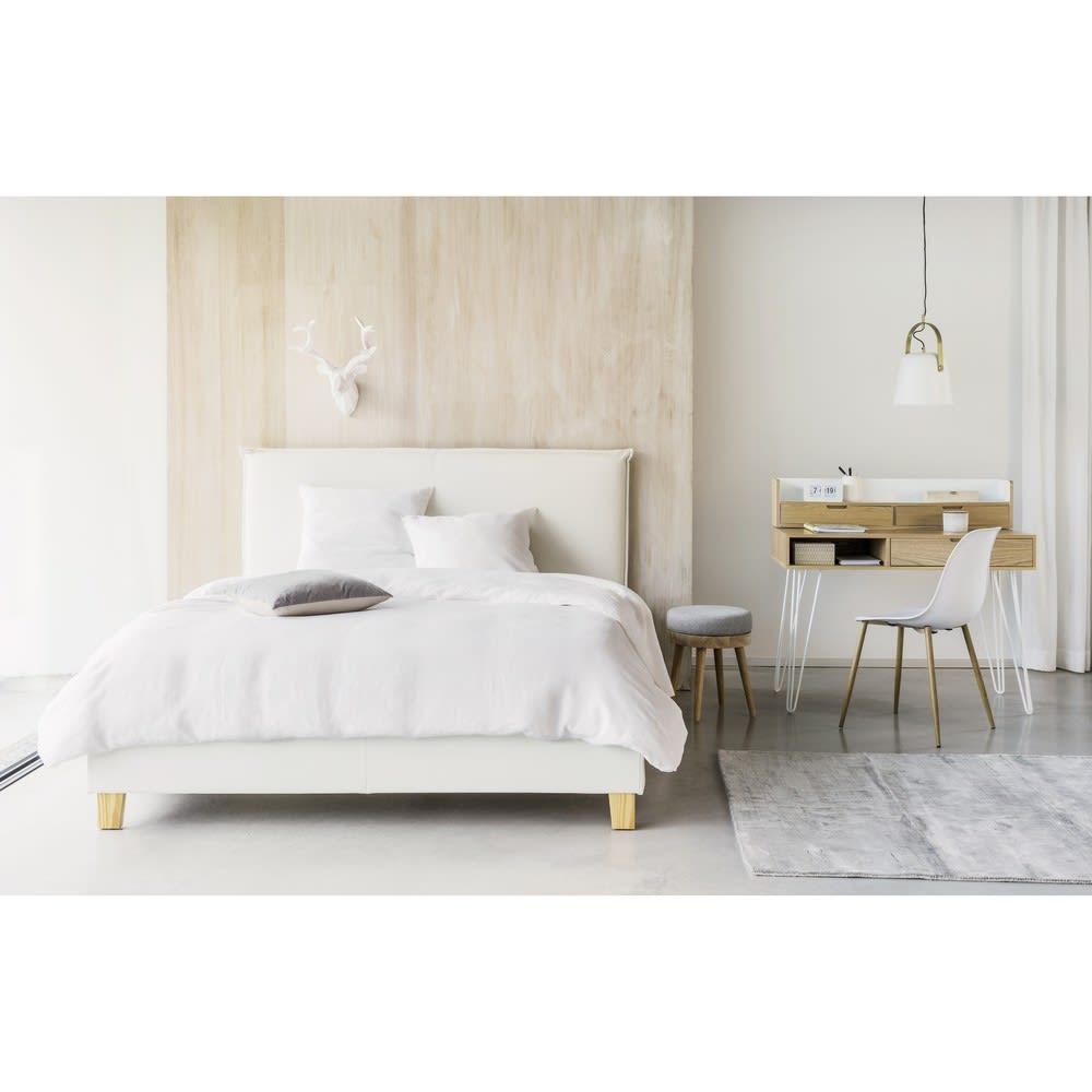 holzbett mit lattenrost und bettkasten 160x200 wei. Black Bedroom Furniture Sets. Home Design Ideas