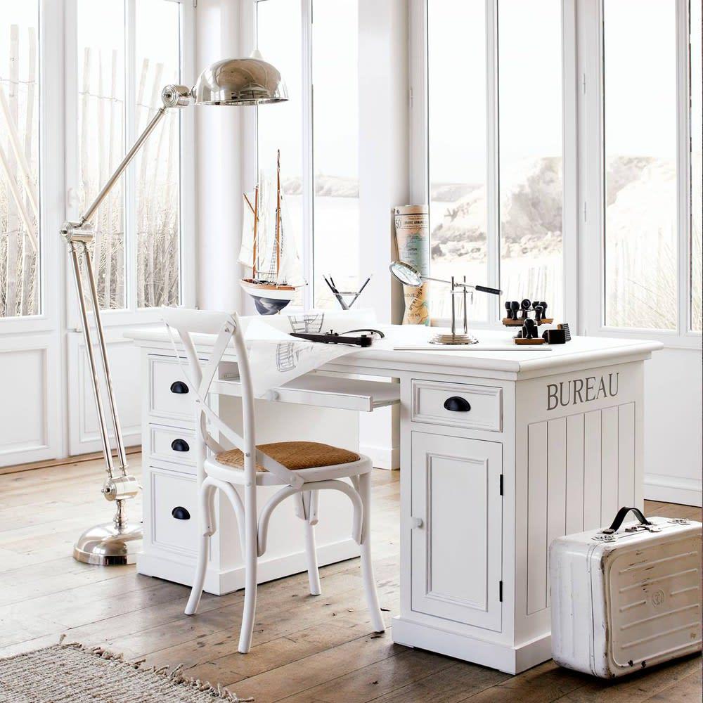 Holzschreibtisch mit 1 Tür und 4 Schubladen, weiß Newport | Maisons ...