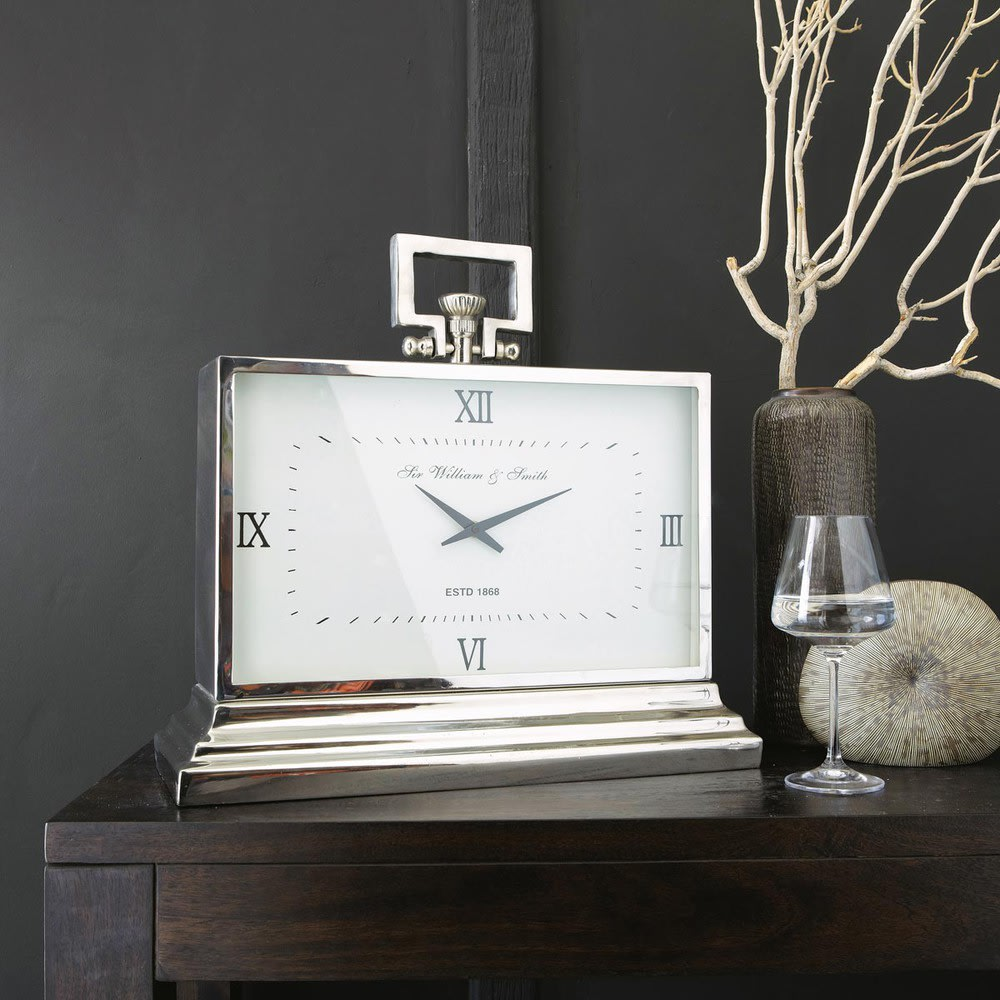 Horloge poser en m tal effet chrom l47 kingston maisons du monde - Horloge a poser maison du monde ...