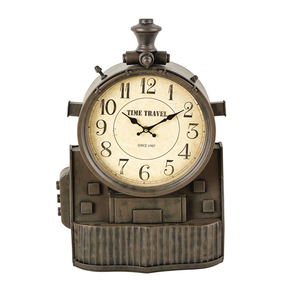 Horloge poser indus en m tal noir effet vieilli dewey maisons du monde - Horloge a poser maison du monde ...