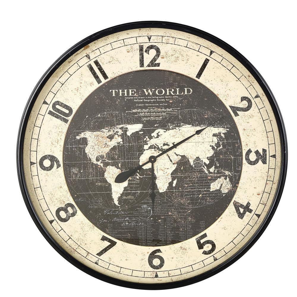 Horloge carte du monde en m tal noir d96 atlas maisons du monde - Horloge a poser maison du monde ...