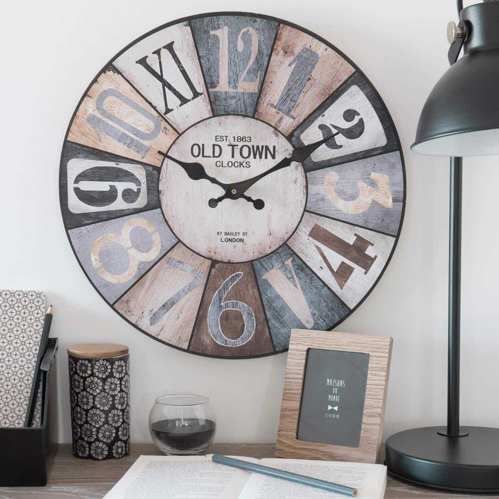4e5764bebe1245 Horloge en bois D 34 cm Cosy