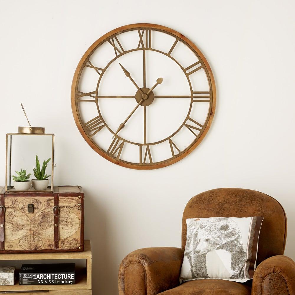 horloge en sapin et m tal effet bronze montana maisons du monde. Black Bedroom Furniture Sets. Home Design Ideas