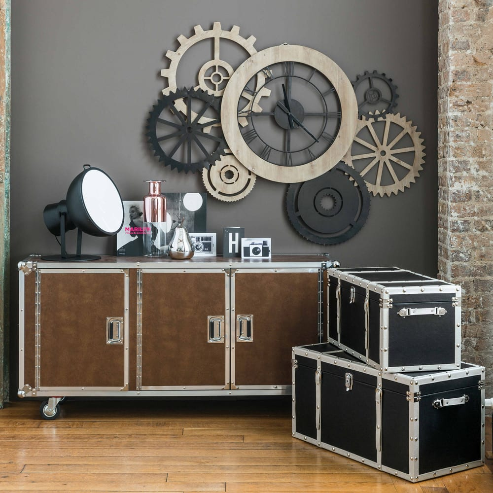 horloge indus bicolore 145x109 hipster maisons du monde. Black Bedroom Furniture Sets. Home Design Ideas