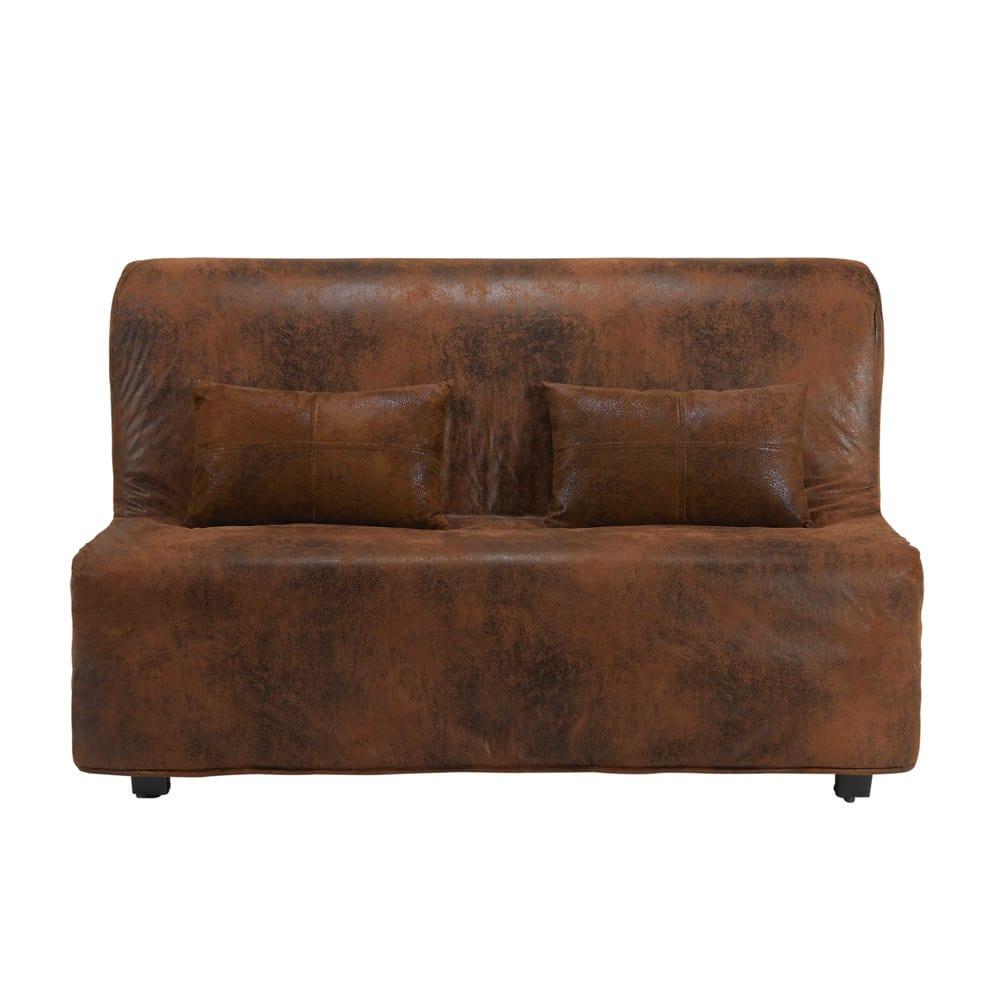 housse de canap bz en microsu de marron elliot maisons du monde. Black Bedroom Furniture Sets. Home Design Ideas