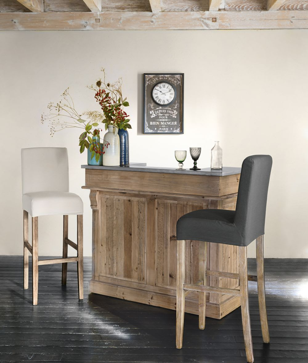 housse de chaise de bar en coton ivoire boston maisons. Black Bedroom Furniture Sets. Home Design Ideas