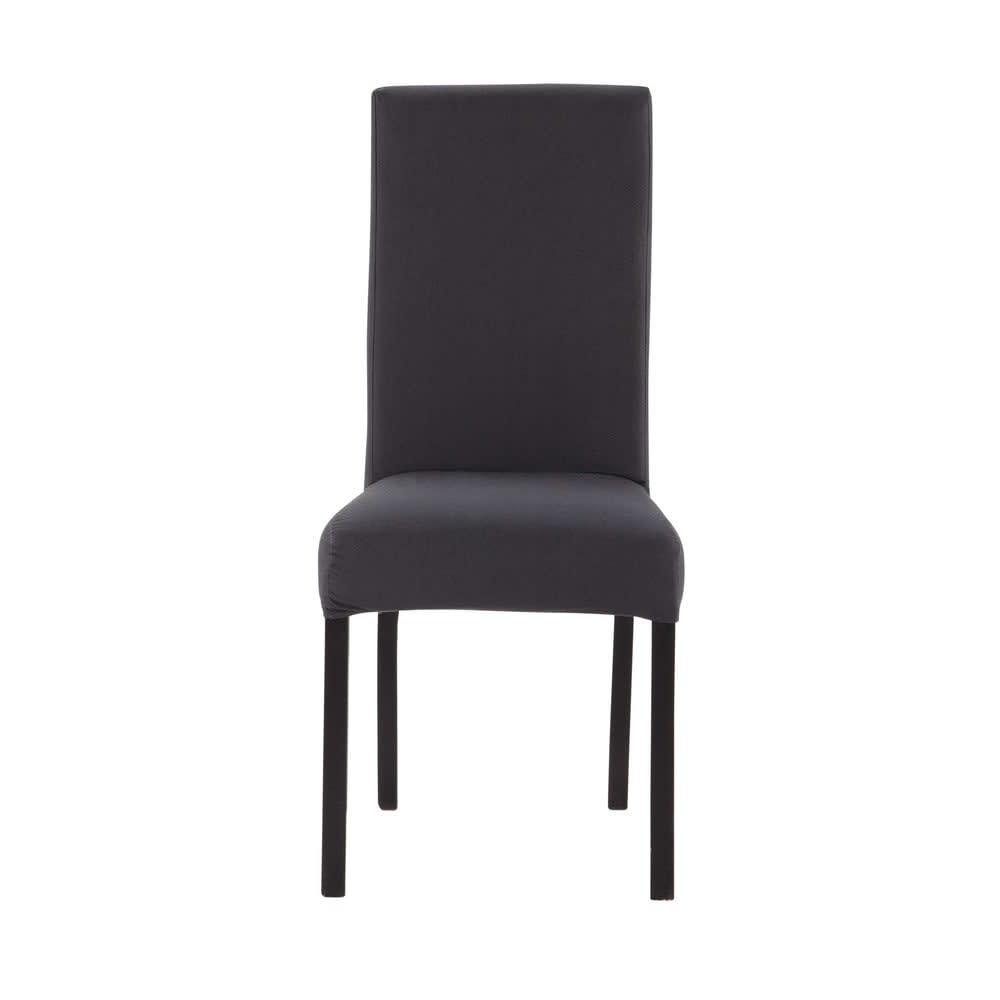 housse de chaise en coton gris anthracite 47x57 margaux maisons du monde. Black Bedroom Furniture Sets. Home Design Ideas