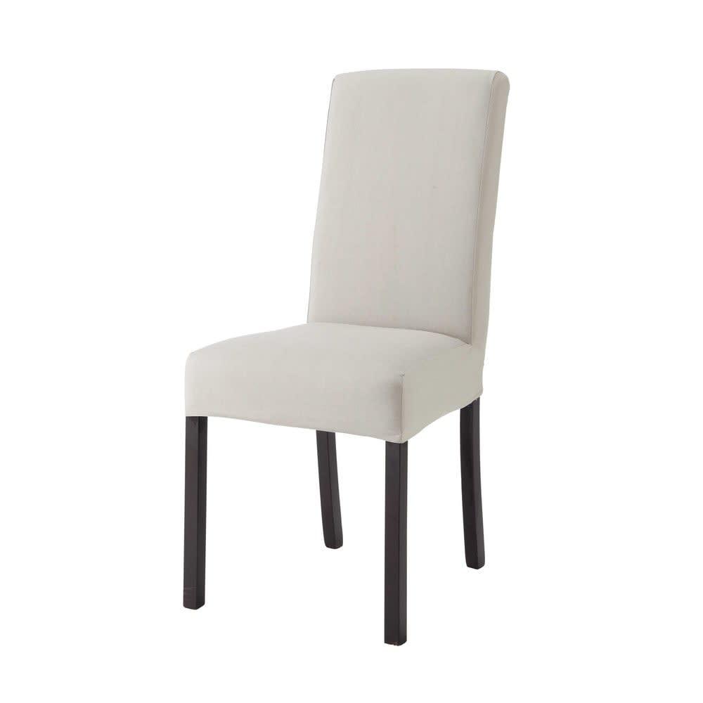 housse de chaise en coton gris clair 47x57 margaux maisons du monde. Black Bedroom Furniture Sets. Home Design Ideas