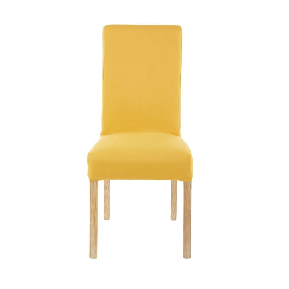 housse de chaise en coton jaune moutarde 41x70 margaux. Black Bedroom Furniture Sets. Home Design Ideas