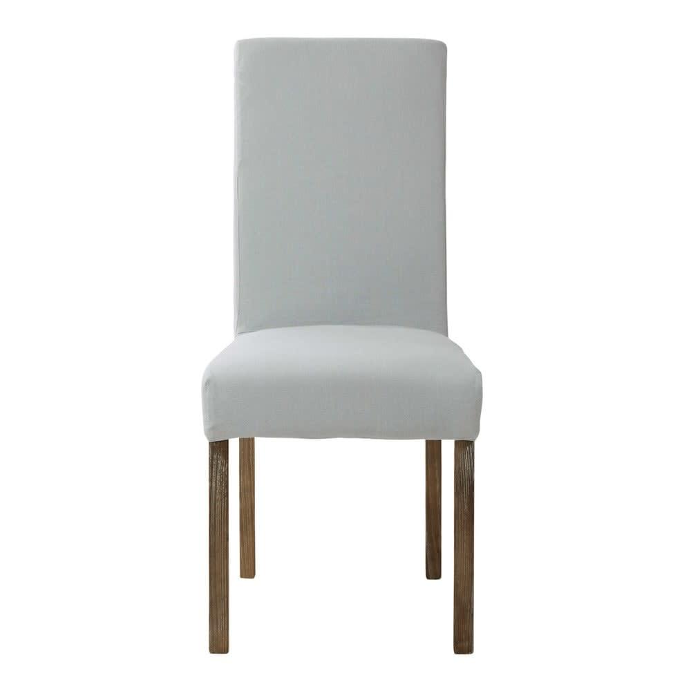 housse de chaise en lin bleu glacier margaux maisons du. Black Bedroom Furniture Sets. Home Design Ideas
