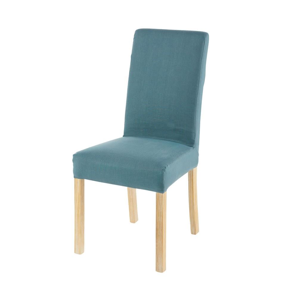 housse de chaise en lin bleu p trole 41x70 margaux. Black Bedroom Furniture Sets. Home Design Ideas