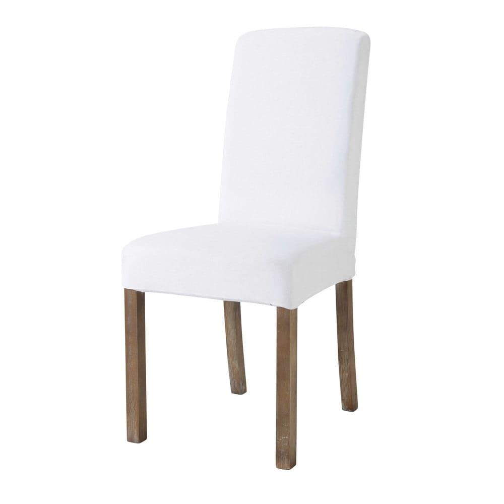 housse de chaise en lin lav blanche margaux maisons du. Black Bedroom Furniture Sets. Home Design Ideas