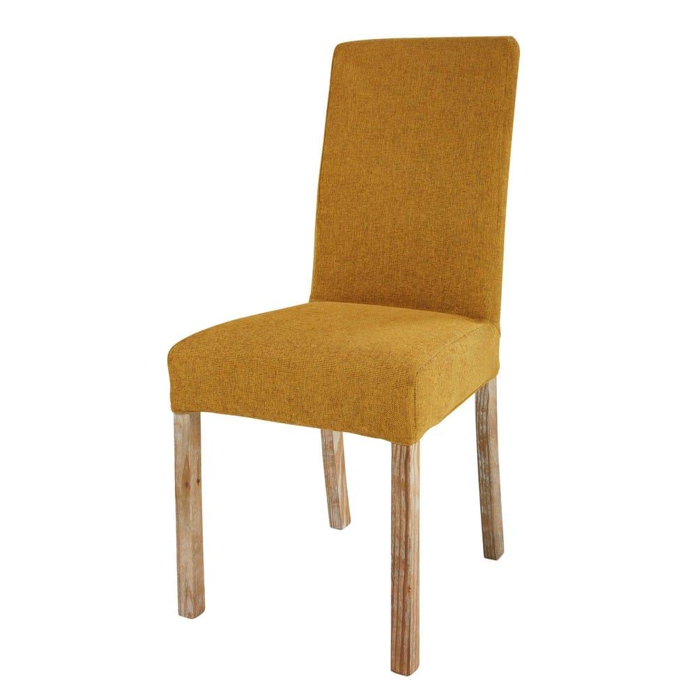 housse de chaise en tissu ocre margaux maisons du monde. Black Bedroom Furniture Sets. Home Design Ideas