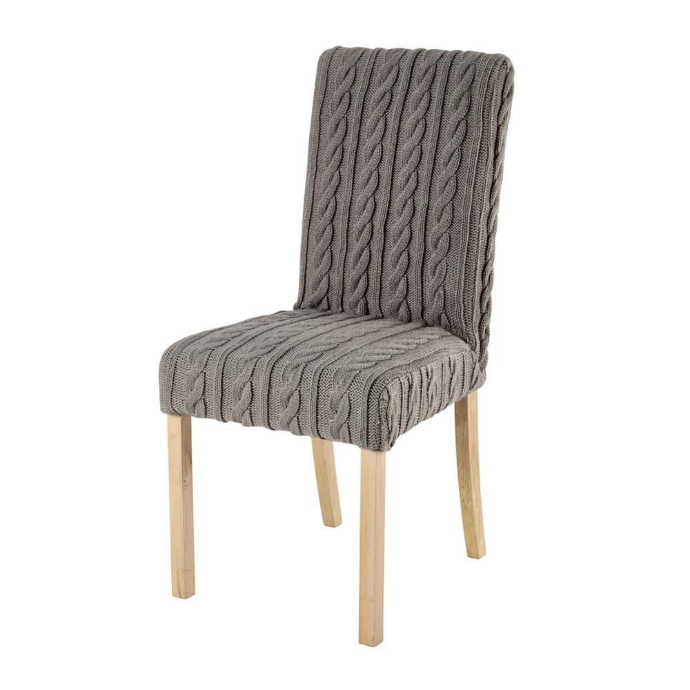 housse de chaise tricot e grise margaux maisons du monde. Black Bedroom Furniture Sets. Home Design Ideas