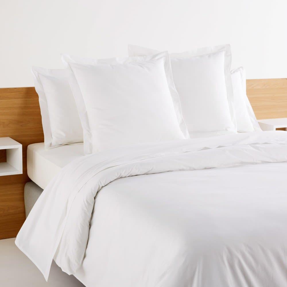 housse de couette h tellerie en percale de coton blanc. Black Bedroom Furniture Sets. Home Design Ideas