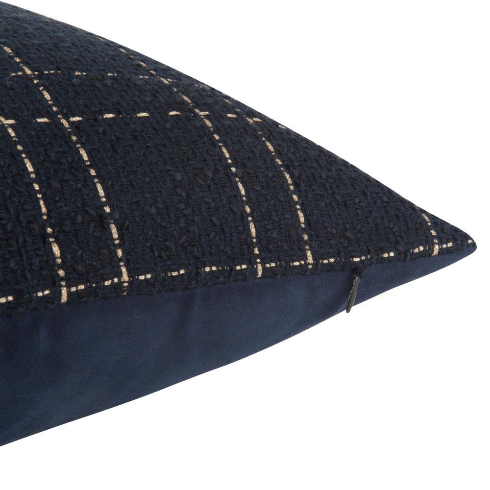 housse de coussin brod e bleu nuit et dor e 40x40. Black Bedroom Furniture Sets. Home Design Ideas
