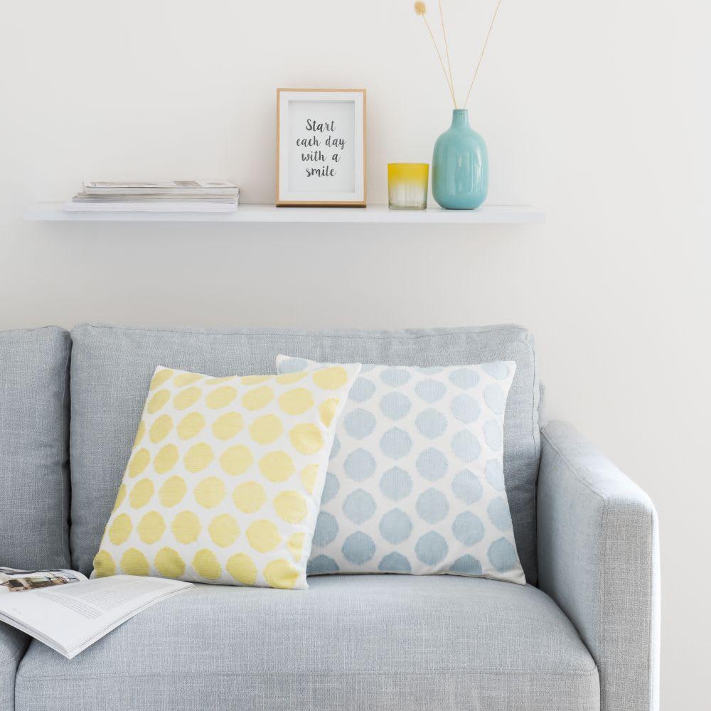 housse de coussin crue motifs graphiques jaunes 40x40. Black Bedroom Furniture Sets. Home Design Ideas