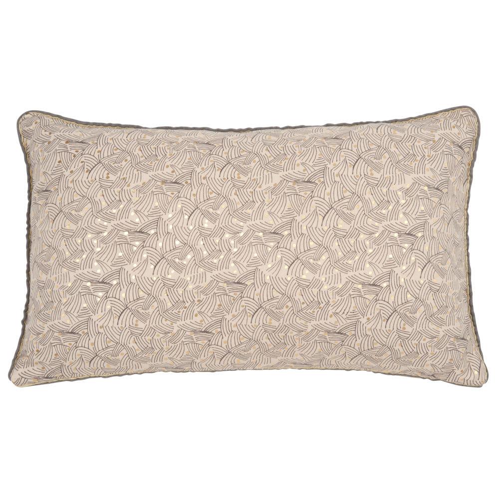 housse de coussin en coton motifs beige et dor 30x50. Black Bedroom Furniture Sets. Home Design Ideas