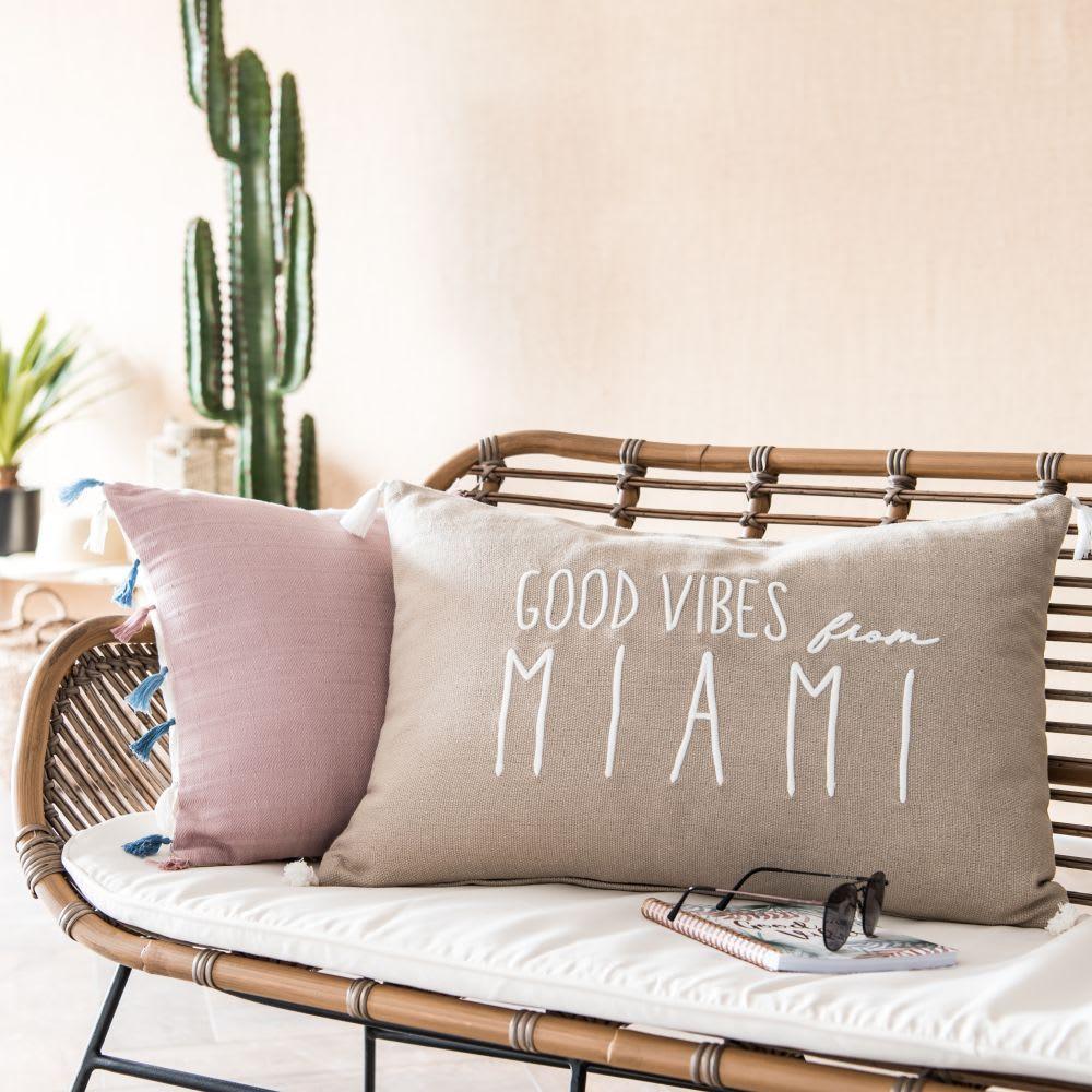 housse de coussin en coton beige et cru brod 40x60 good. Black Bedroom Furniture Sets. Home Design Ideas