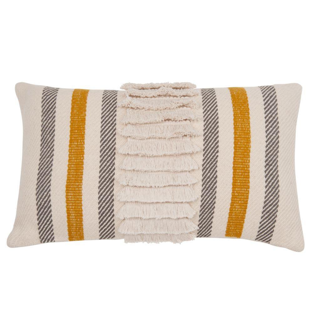 housse de coussin en coton beige jaune et gris 30x50. Black Bedroom Furniture Sets. Home Design Ideas