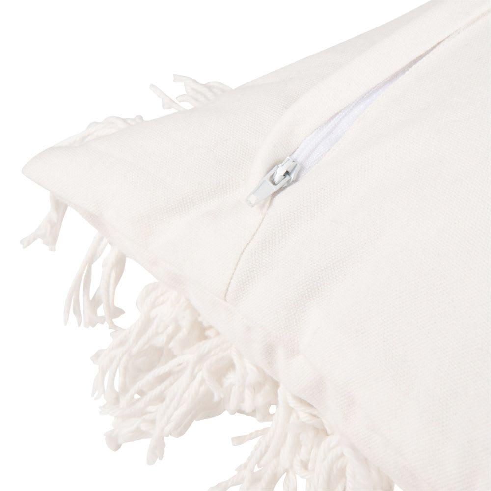 housse de coussin en coton blanc franges 30x50 maisons. Black Bedroom Furniture Sets. Home Design Ideas