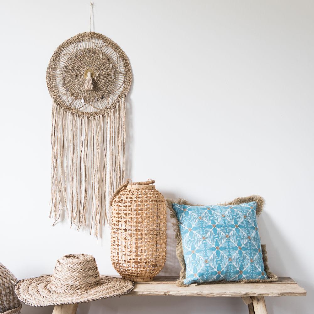 housse de coussin en coton bleu franges 40x40 vola. Black Bedroom Furniture Sets. Home Design Ideas