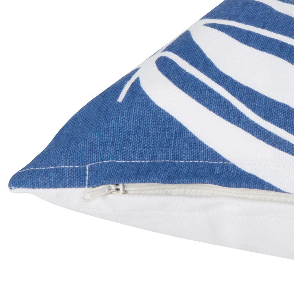 housse de coussin en coton bleu imprim feuilles 30x50. Black Bedroom Furniture Sets. Home Design Ideas