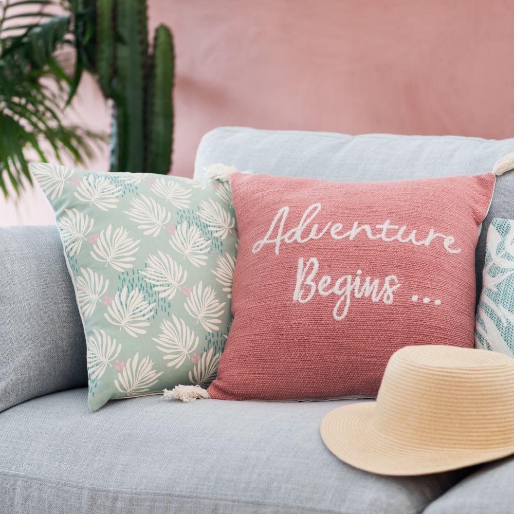 housse de coussin en coton bleu imprim feuilles 40x40. Black Bedroom Furniture Sets. Home Design Ideas
