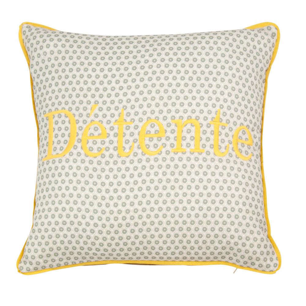 housse de coussin en coton broderie jaune 40x40 carline. Black Bedroom Furniture Sets. Home Design Ideas