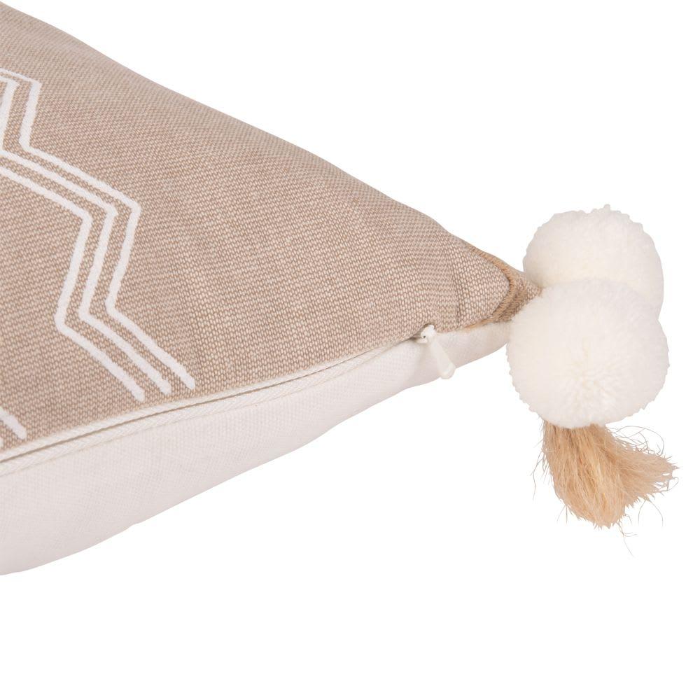 housse de coussin en coton cru et beige pompons 30x50. Black Bedroom Furniture Sets. Home Design Ideas