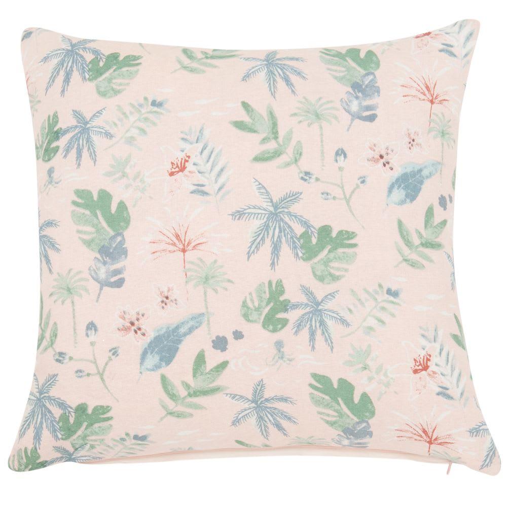 housse de coussin en coton imprim rose et bleu 40x40. Black Bedroom Furniture Sets. Home Design Ideas
