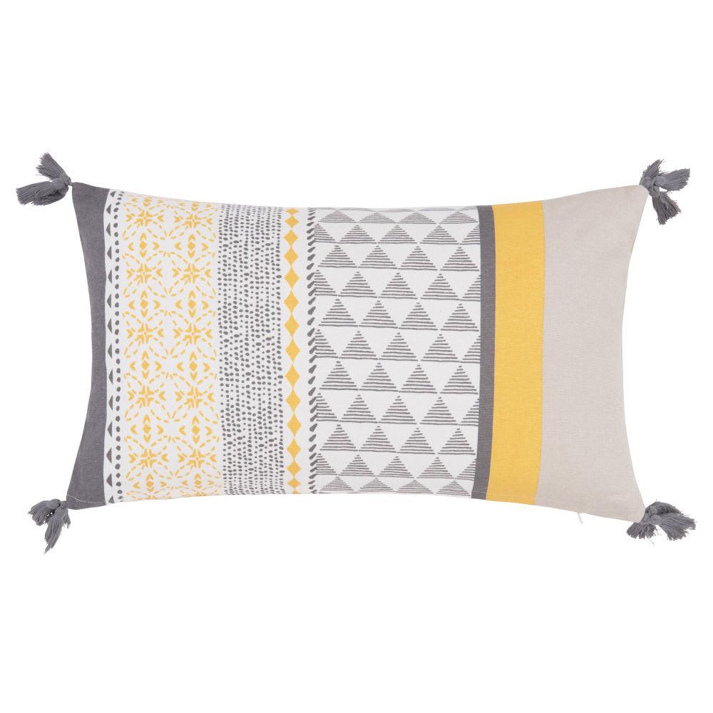 housse de coussin en coton jaune et gris clair 30x50. Black Bedroom Furniture Sets. Home Design Ideas
