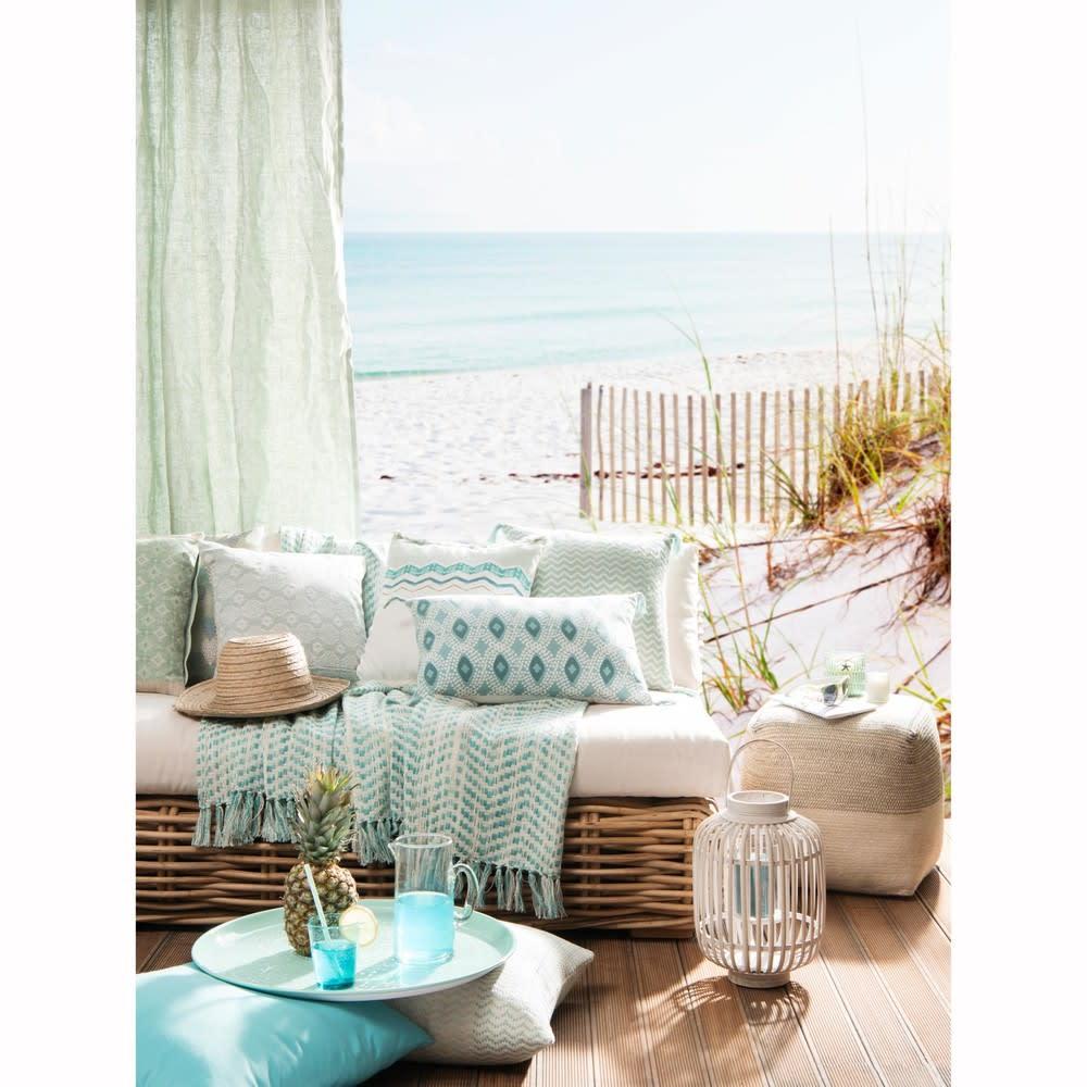 Housse de coussin en coton motif jacquard 50x50 Saidia | Maisons du ...