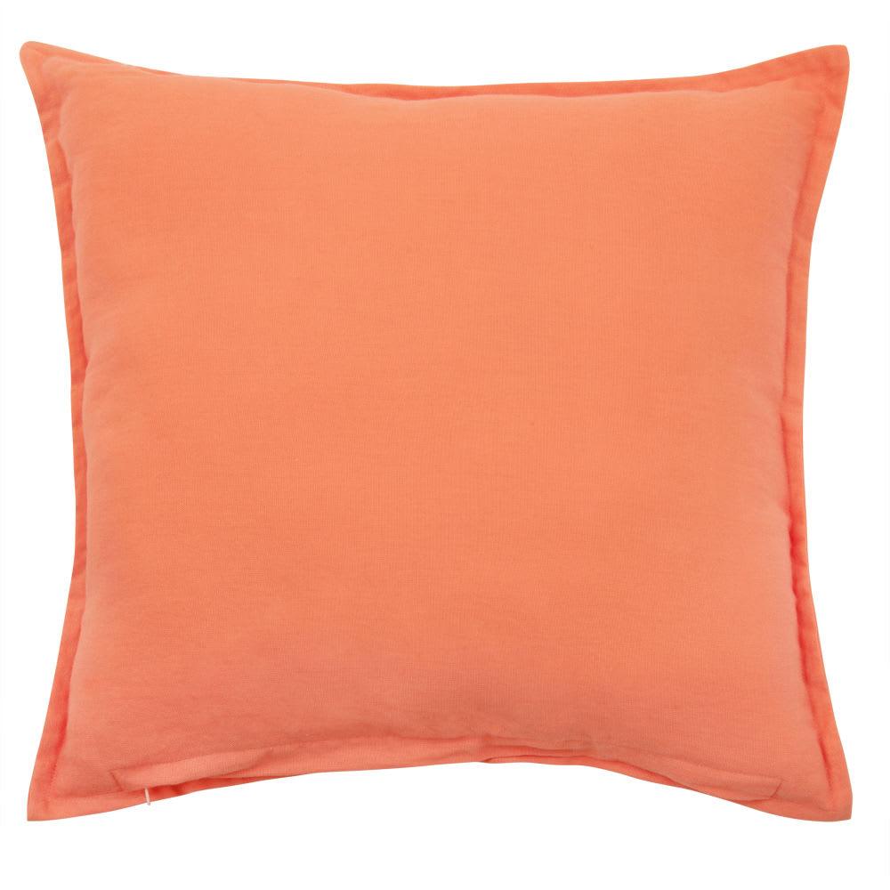 Housse de coussin en coton orange et doré