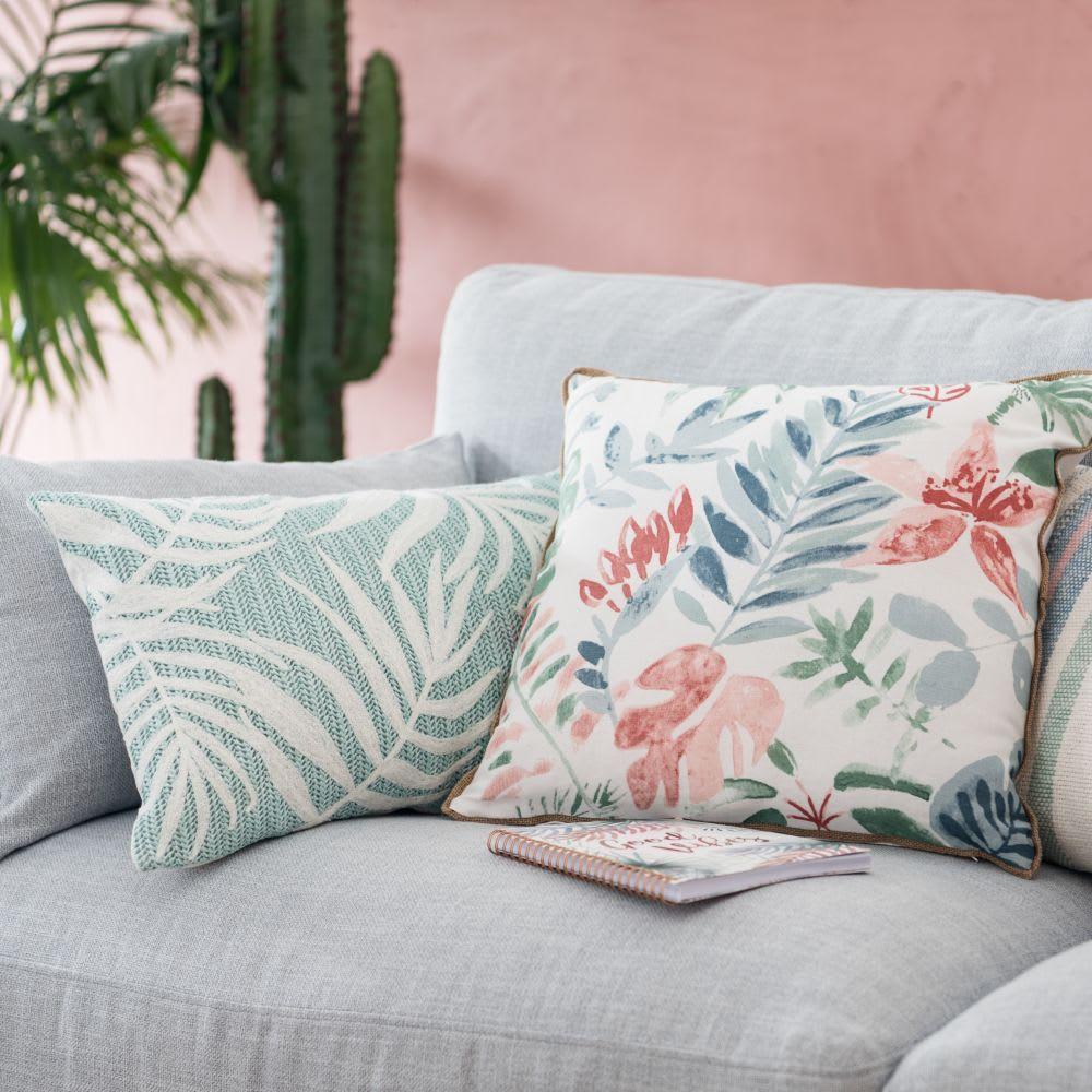 housse de coussin en coton rose bleu et cru 40x40. Black Bedroom Furniture Sets. Home Design Ideas