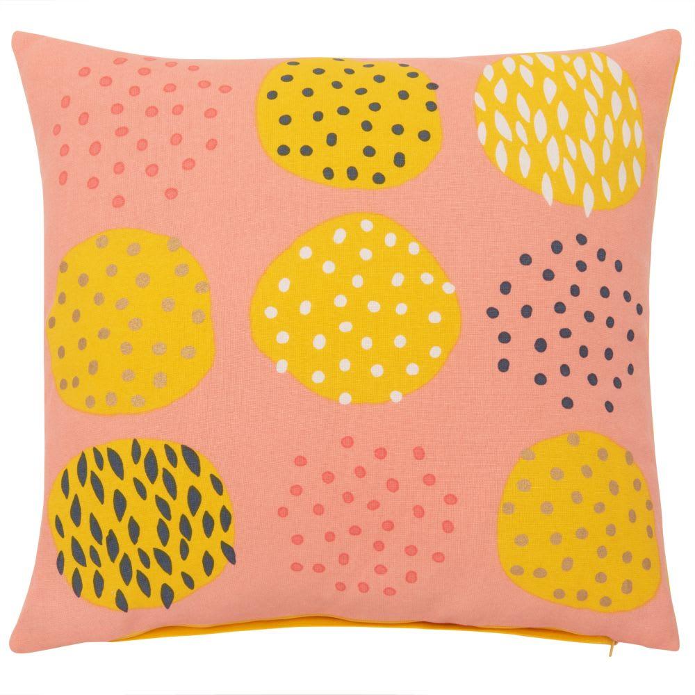 housse de coussin en coton rose jaune et noir 40x40. Black Bedroom Furniture Sets. Home Design Ideas