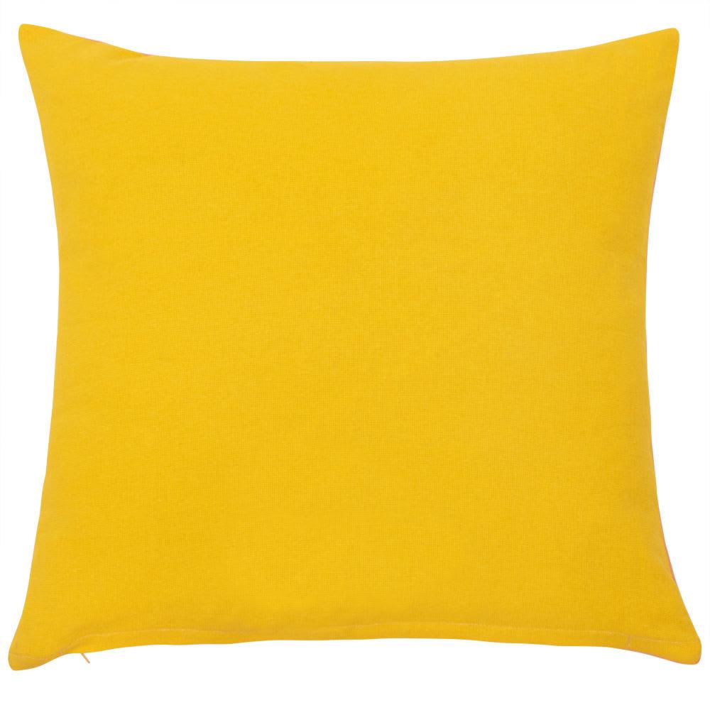 housse de coussin en coton rose jaune et noir 40x40 maracuja maisons du monde. Black Bedroom Furniture Sets. Home Design Ideas