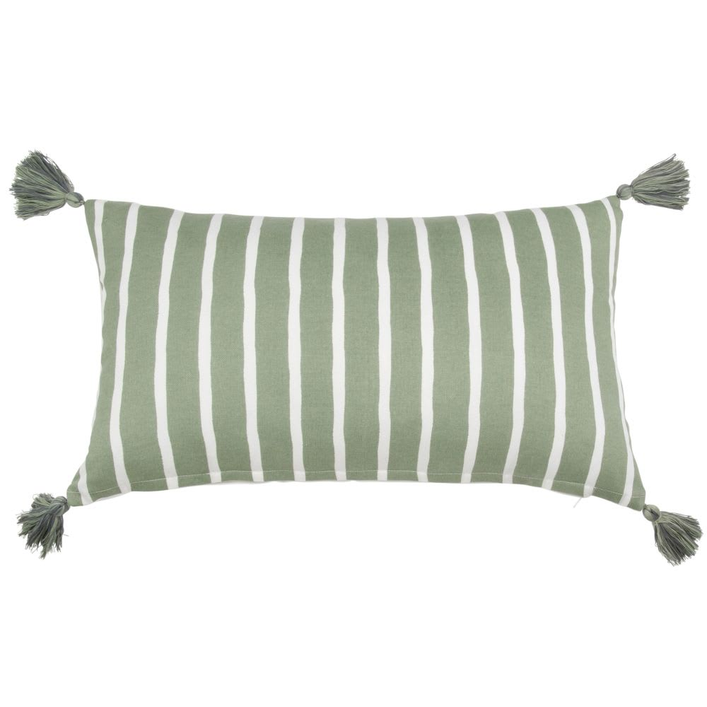 housse de coussin en coton vert et cru 30x50 romarin. Black Bedroom Furniture Sets. Home Design Ideas