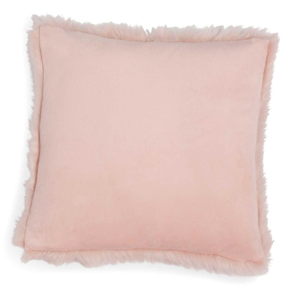 housse de coussin en fausse fourrure rose 40 x 40 cm morgane maisons du monde. Black Bedroom Furniture Sets. Home Design Ideas